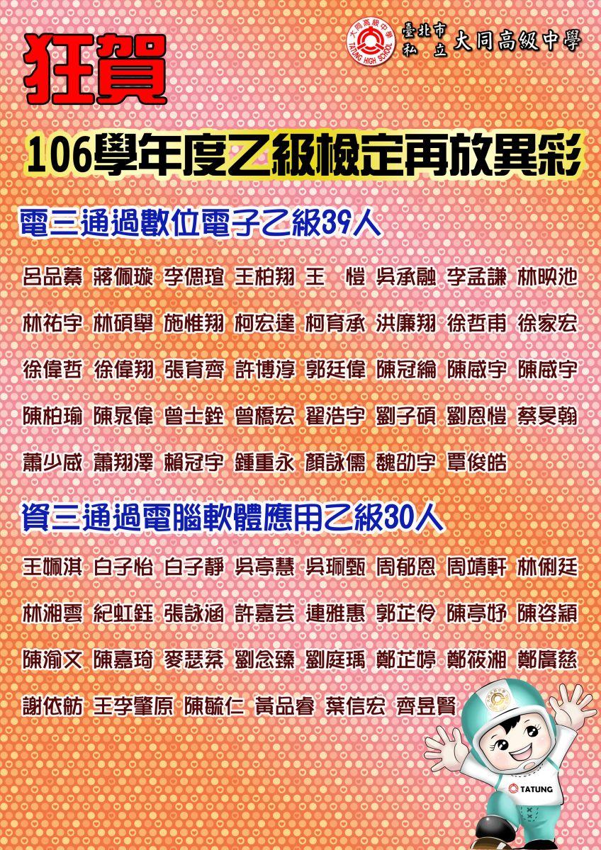 106學年乙級檢定榜單